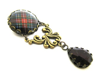Scottish Tartan Jewelry  - Ancient Romance Series - Royal Stewart Black Ornate Filigree Brooch w/Garnet Teardrop Glass Gem
