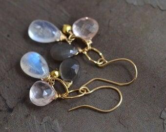 14kt Gold Moonstone Earrings - Rose Quartz Earrings - Grey Moonstone Earrings - Gold Link Earrings - Mixed Stone Earrings - Cluster Earrings