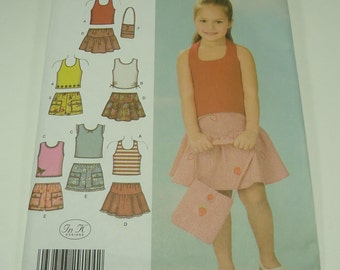Simplicity Child's Shorts, Skirt, Bag and Knit Top Pattern 4611 Size 3, 4, 5, 6