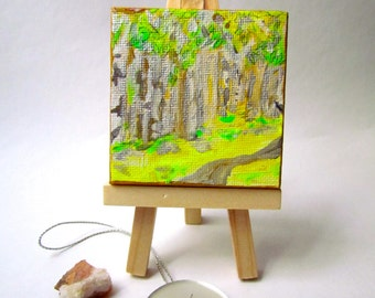 The Crystal Gardens: White Wood Forest acrylic painting with Citrine Druze Crystal