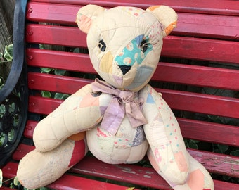 Vintage Style Teddy Bear Made from an Old Antique Quilt