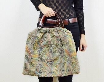 70s boho top handle bag, tapestry bag, vintage floral bag, large clutch bag, boho bag, hippie bag, 70s handle bag, handle bag