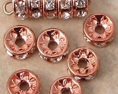 Bead, Rose Gold Rhinestone Rondelle, 6mm Crystal AB, 6 Pc. RG32