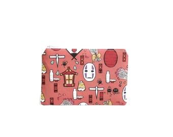 Spirited Away Wallet / Studio Ghibli Doodles Zipper Pouch / Camera Bag in No Face Sen Haku