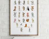 ABC wall art- Alphabet poster - Alphabet art - Alphabet print  - ABC print - Nursery art - Nursery decor - Kids room decor - Children's art