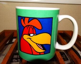 1991 Vintage Foghorn Loony Toons Coffee Mug, Rooster, Ah Say, Ah Say Son.... Comic, Cartoon Character, Henry Hawk, Farm Animal, Rooster