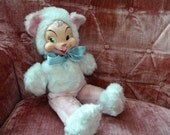 This Item is RESERVED-Vintage Rubber Face Cat Gund Rushton Pink and White