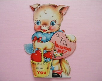 Vintage Valentine's Day Card Pink Kitty Cat with Basket of Hearts Anthropomorphic Kitten