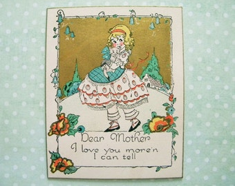 Antique Unused Valentine's Day Card to Mother Girl with Kitten