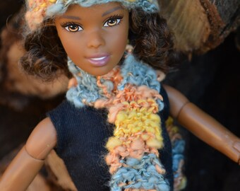 Barbie Artistic Blue Peach Yellow Hand Knitted Hat and Scarf Set