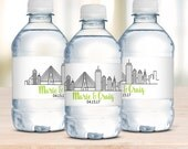 Wedding Water Bottle Labels, Boston Skyline, Wedding Welcome Bags, Waterproof Labels, Destination Weddings, Boston Wedding, Wedding Favors