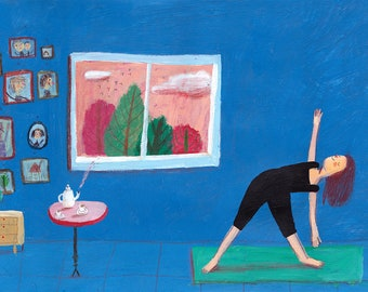 Yoga time original illustration