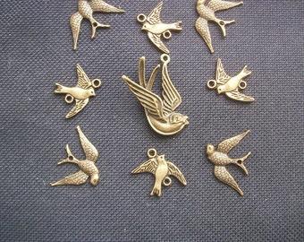 9 Assorted Bird Charms Set Bronze Tone Metal