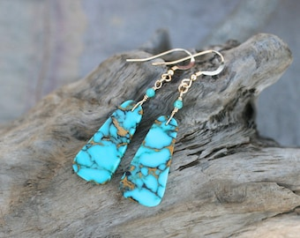 Mojave Turquoise Slice Earrings, 14KT Gold Filled Earrings, Turquoise Earrings, Gold Filled Earrings, Aqua Blue Gemstone Earrings,