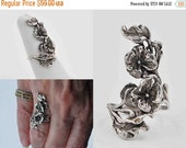 ON SALE Vintage Artisan Sterling Silver Floral Branch Ring, 3D, Branch, Flowers, Sculptural, Flowing, Size 6 1/4, Statement, Lovely! #b749