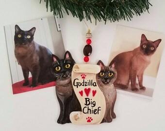 Custom Christmas Ornament ~ Two Cat Ornament ~ Memorial Ornament ~ Cat Memorial Gift ~ Custom Cat Portrait ~ Christmas Cat ~ Custom Cat Gift
