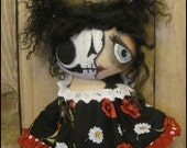 Halloween skeleton zombie girl Whimsical spooky cupboard doll gothic cottage chic shabby primitive creepy cute decor Farm Quirky