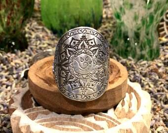 Free Spirit Mandala Ring Fully Adjustable Silver Boho Festival Urban Hippie