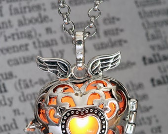 Glowing Pendant Winged Heart Locket with Orange glowing Orb- Lovely Christmas Gift for Her LED jewelry