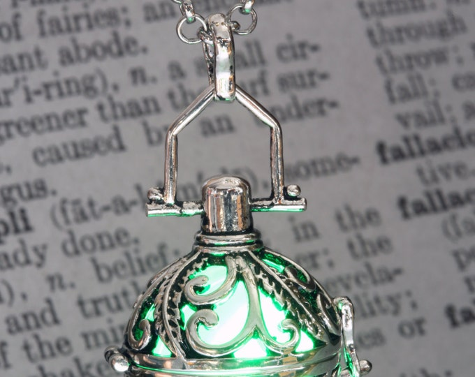 Green Glowing Pendant Glowing Necklace Ornate Fairy Locket Mystical Gift for her LED glow Jewel