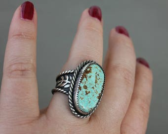 Number 8 turquoise ring - metalwork - sterling silver ring - silver and turquoise - statement ring - southwestern - bohemian - large ring
