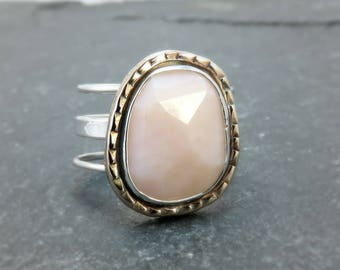 Pink Opal Silver Ring - Blush Pink Ring - Pink Jewelry for Wife - Size 7.25 Bronze and Silver Mixed Metal Caged Band Ring