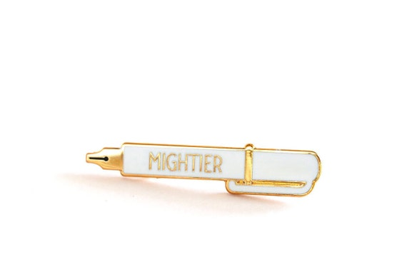 Mightier Pen Enamel Pin Badge, WHITE Lapel Pin, Pen is Mightier than the Sword, Writer Gift, Charity Red Cross Pin, RockCakes