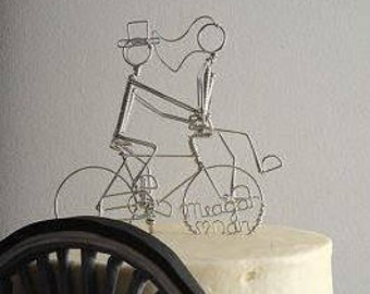Bicycle Wedding Cake Topper Bride on Handlebars Personalized: FANCY MEETING YOU