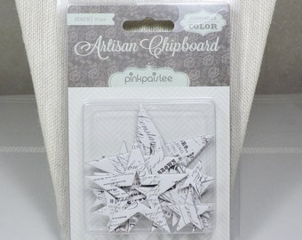 Die Cut Chipboard Stars by Pink Paislee 16 Pieces Scrapbook Supplies
