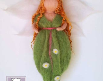 Waldorf inspired Fairy, Needle Felted, Spring