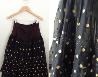 Vintage 50's petticoat - black polka dot 1950's petticoat