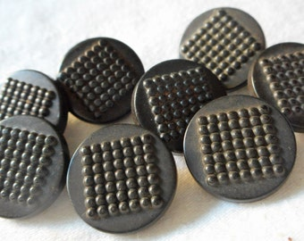 Set of 8 ANTIQUE Small Pebble Top Black Goodyear Rubber BUTTONS