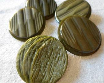 Set of 4 plus 1 VINTAGE Large Olive Green Textured Plastic Coat BUTTONS