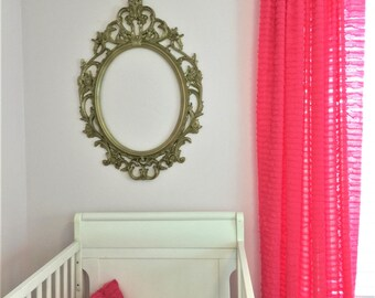Pink Ruffle Curtain - 84 inch Curtain Panels- Fuschia Curtain- Living Room Curtain- Country Curtains Drapery- Sheer Curtain- Fuschia Curtain