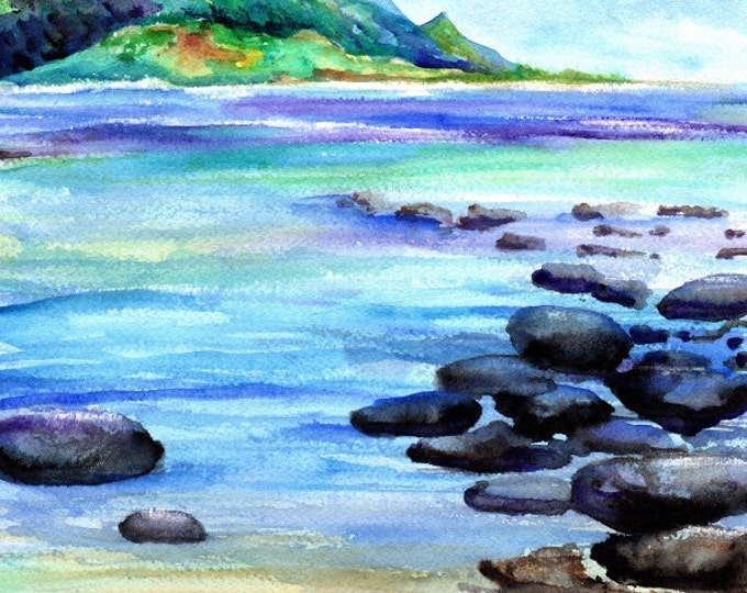 kauai art prints 8x10 hanalei bay ocean beaches kauai north shore hawaiian paintings artwork giclee print kauaiartist marionette beach art