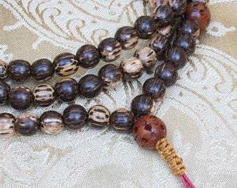 Palmwood and Datewood Mala with Adjustable Knot - 10 mm Long Palmwood Mala Necklace - Buddhist Mala Prayer Beads - Buddha Beads