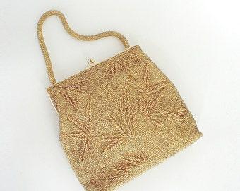 50s 60s Golden Hand-Beaded Evening Handbag - Hong Kong