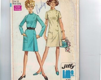 1960s Vintage Sewing Pattern Simplicity 7850 Misses Jiffy Side Button Dress with Pocket Size 10 Bust 32 1/2 1968 60s  UNCUT