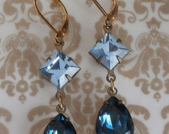 Vintage Montana Sapphire Blue Swarovski Crystal Drop Dangle Earrings ~ Accented with Light Sapphire Swarovski Crystal ~ Bridesmaids Earrings