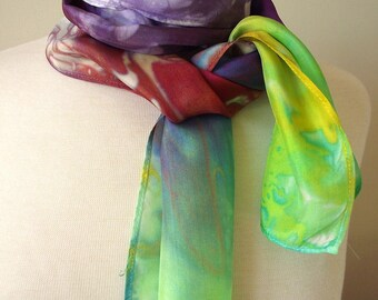 "Hand Dyed Silk Neck Scarf, 8x54"" -  Bright Rainbow Asymmetric Colors, Yellow, Green, Rust, Purple and Taupe"