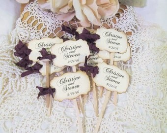 Wedding Name Cupcake Toppers Party Picks - Personalized - Bride & Groom - Set of 18 - Choose Ribbons - Vintage Rustic Shabby Style Flags