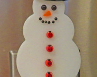 Snowman Nightlights - 5 Snowmen to Choose From -  Fused Glass Nightlights with Cute Glass Buttons