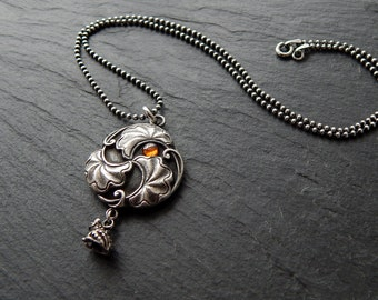 Frog Prince Necklace: Sterling silver, orange CZ cabochon, lilypad, fine silver PMC jewelry, 16 inch ball chain, fairytail pendant