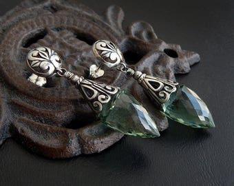 Green Amethyst Earrings: Sterling silver gemstone dangles, long prasiolite points, fancy bali caps and wires, openwork filigree drops