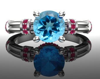 Swiss Blue Topaz and Ruby Ring | 14k White, Rose, or Yellow Gold