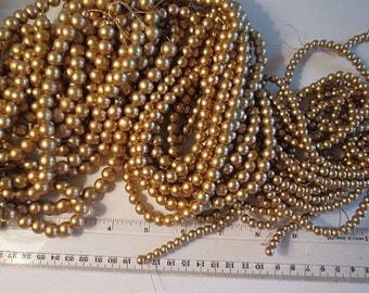 Wood Beads, Choose 6mm, 8mm, 10mm, Gold Round Wood, Painted Wooden Beads, 16 inch Strand, QTY 1 - WB96