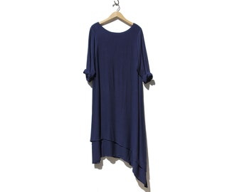 Vintage Asymmetric Unbalance Hemline Navy Blue Crepe Oversized Dress