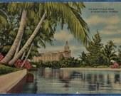 Roney Plaza Hotel Miami Beach Florida Linen Postcard Used 1943 WWII Era