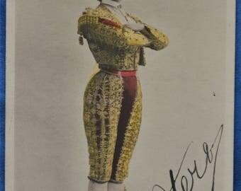 Woman Caroline Otero Bull Fighter Costume Pink Dance Shoes Paris Follies Bergere Postcard
