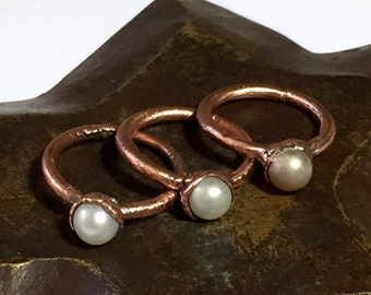 Pearl Ring Electroformed - Copper Electroformed Ring - Boho Jewelry